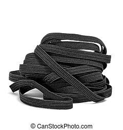 black sewing elastic band on a white background