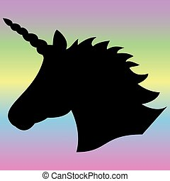 Black shape silhouette of the magical unicorn on the rainbow...