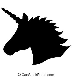 Black shape silhouette  of the magical unicorn on the white background