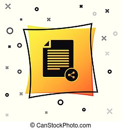 Black Share file icon isolated on white background. File sharing. File transfer sign. Yellow square button. Vector Illustration