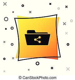 Black Share folder icon isolated on white background. Folder sharing. Folder transfer sign. Yellow square button. Vector Illustration