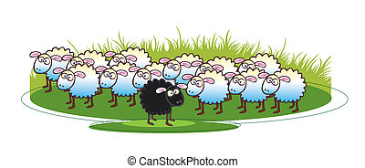 Black Sheep - A cartoon illustration of a flock of white...