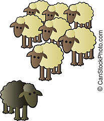 Black Sheep and Flock - A black sheep being shunned from the...