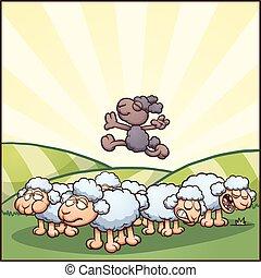 Black sheep - Happy cartoon black sheep. Vector clip art...