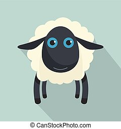 Black sheep icon, flat style