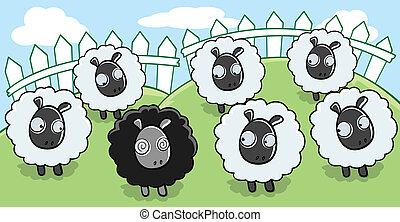 Black Sheep - A cartoon black sheep surrounded by white...