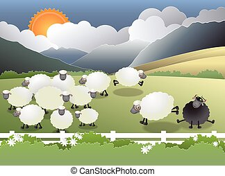 Flock of sheep on green field, a black sheep in the family, paper cutting, vector illustration