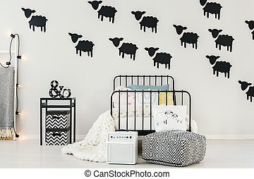Black sheep stickers in bedroom