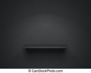 Black shelf. 3d rendering - Black shelf on the dark wall. 3d...