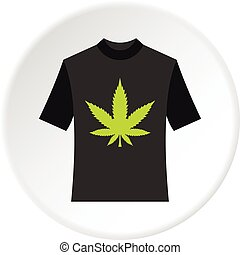 Black shhirt with marijuana leaf icon circle