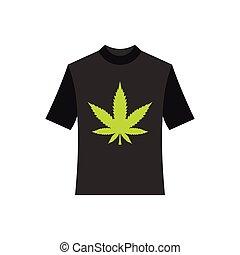 Black shhirt with marijuana leaf icon, flat style