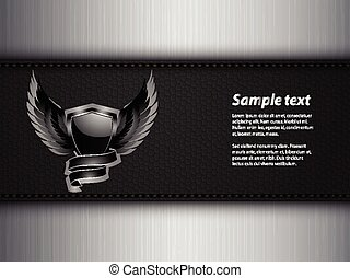 Black shield and sample text