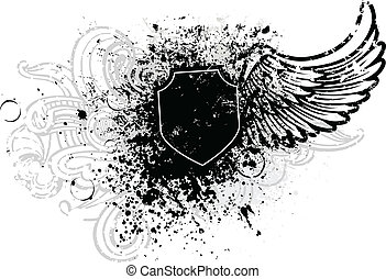 Black shield and wing design with grunge paint splatter