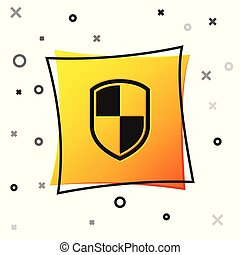 Black Shield icon isolated on white background. Guard sign. Yellow square button. Vector Illustration