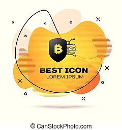 Black Shield with bitcoin icon isolated on white background. Cryptocurrency mining, blockchain technology, bitcoin, security, protect, digital money. Fluid color banner. Vector Illustration