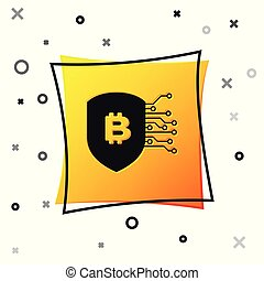 Black Shield with bitcoin icon isolated on white background. Cryptocurrency mining, blockchain technology, bitcoin, security, protect, digital money. Yellow square button. Vector Illustration