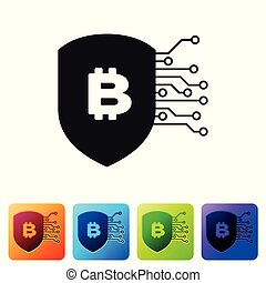 Black Shield with bitcoin icon on white background. Cryptocurrency mining, blockchain technology, bitcoin, security, protect, digital money. Set icon in color square buttons. Vector Illustration