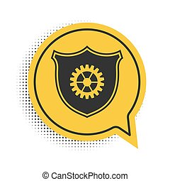Black Shield with gear icon isolated on white background. Yellow speech bubble symbol. Vector