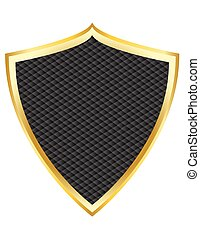 Black shield with gold border vecto