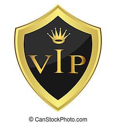 Black shield with the inscription'' VIP''