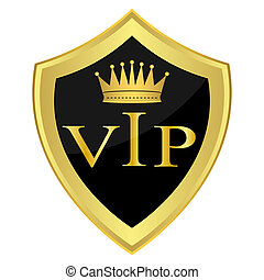 Black shield with the inscription'' VIP''