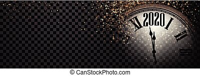 Black and gold shiny 2020 New Year transparent banner with blurred round clock. Vector illustration.