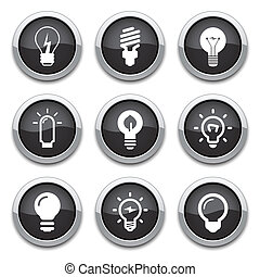 light bulb buttons - black shiny light bulb buttons