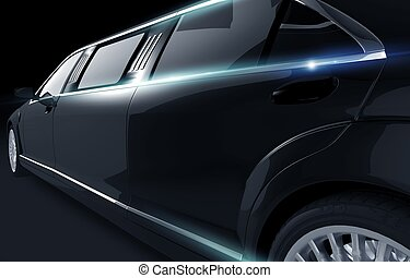 Black Shiny Limousine Illustration. Limo Side View Closeup.