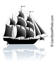 Black ship - Black old ship isolated on white