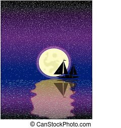 Black ship silhouette on sea at night