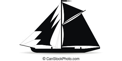 Black ship silhouette on white background