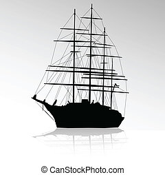 black ship without sails silhouette