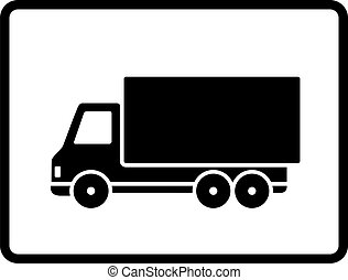 black shipping truck on white background in frame