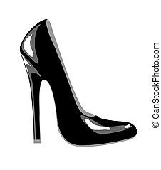 Black shoe - A high-heeled black court shoe for business or...