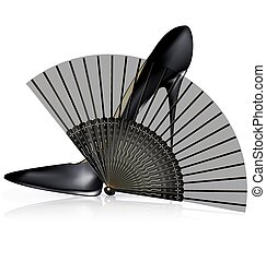 black shoe and fan - white background and the black ladys...