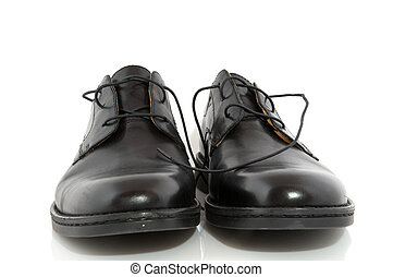 Black shoes - Black polished shoes isolated over white