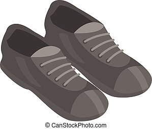 Black shoes icon, isometric style