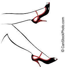 black shoes on the contour of the female feet.eps