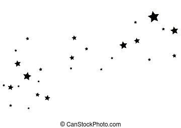 Black Shooting Star with Elegant Star Trail on White Background