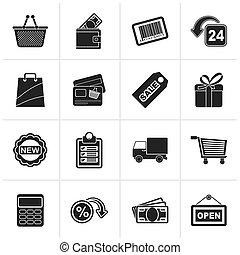 black , shoppen , en, detailhandel, iconen