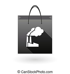 Black shopping bag icon with a factory