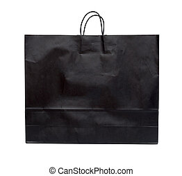 Black shopping bag on a white background