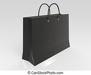 Black Shopping bag. Reflective floor.