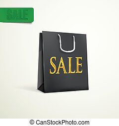 black shopping bag. sale concept