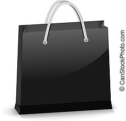 Black Shopping Bag - Black glossy shopping bag, vector eps10...