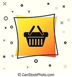 Black Shopping basket icon isolated on white background. Yellow square button. Vector Illustration