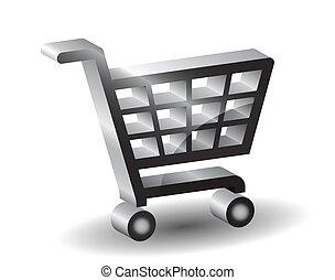 Black  shopping basket sign, 3d