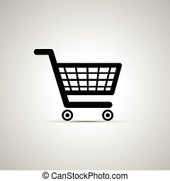 Black shopping cart icon with shadow