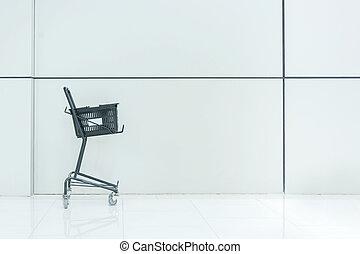 Black Shopping Cart , White Background