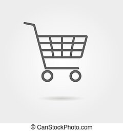 black shopping trolley with shadow. concept of daily...